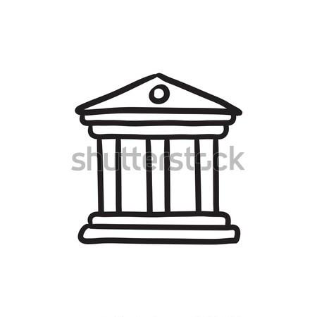 Müze kroki ikon vektör yalıtılmış Stok fotoğraf © RAStudio