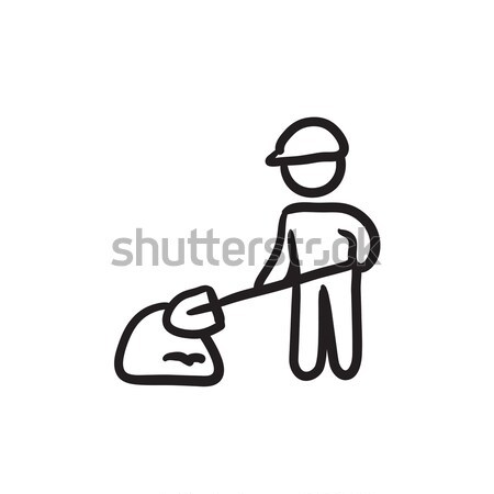Man with shovel and hill of sand sketch icon. Stock photo © RAStudio