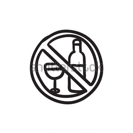 Photo stock: Pas · alcool · signe · croquis · icône · vecteur