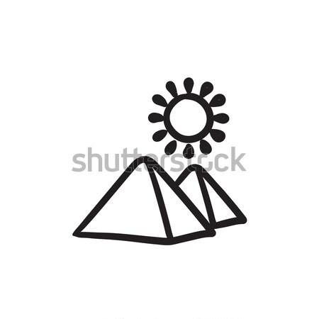 Egyptian pyramids sketch icon. Stock photo © RAStudio