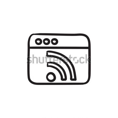 Browser window with wi fi sign sketch icon. Stock photo © RAStudio