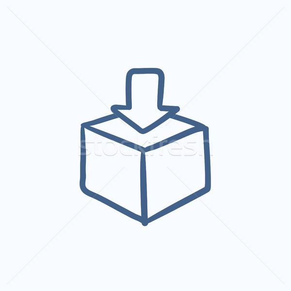 Posta kutusu kroki ikon vektör yalıtılmış Stok fotoğraf © RAStudio
