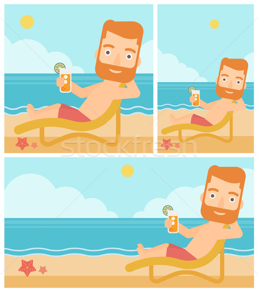 Man sitting in chaise longue vector illustration. Stock photo © RAStudio