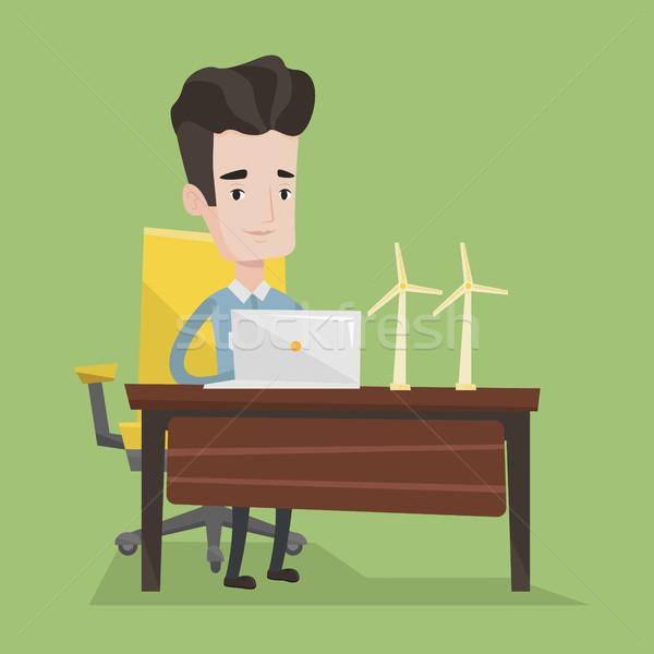 男 作業 モデル 風力タービン 表 エンジニア ストックフォト © RAStudio