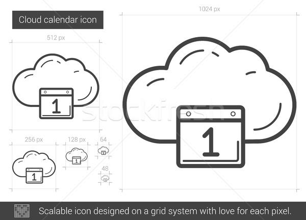 Stock fotó: Felhő · naptár · vonal · ikon · vektor · izolált