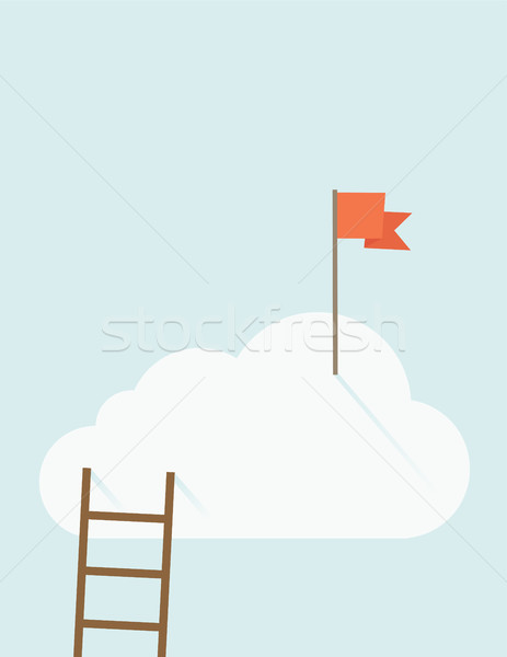Ladder with red flag on top of the cloud Stock photo © RAStudio