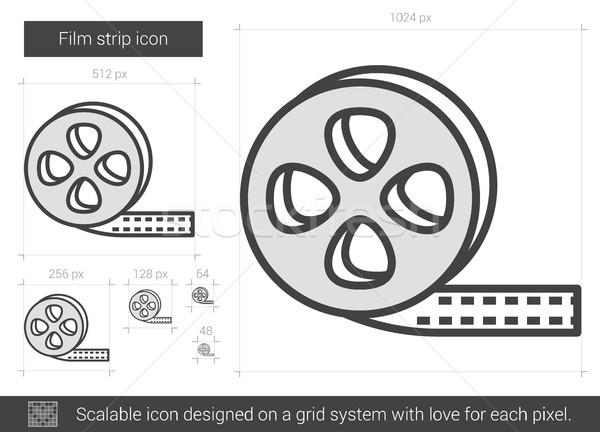 Stockfoto: Filmstrip · lijn · icon · vector · geïsoleerd · witte