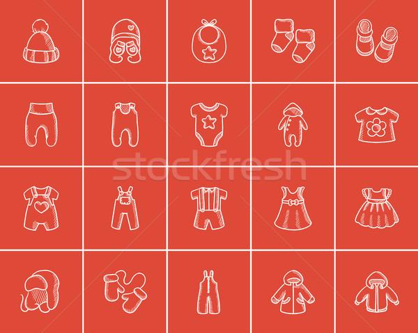 Baby clothes sketch icon set. Stock photo © RAStudio