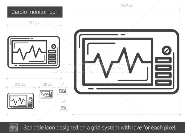 Kardio monitor vonal ikon vektor izolált Stock fotó © RAStudio