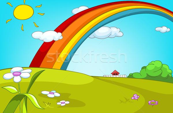 Cartoon zomer glade regenboog landschap Stockfoto © RAStudio