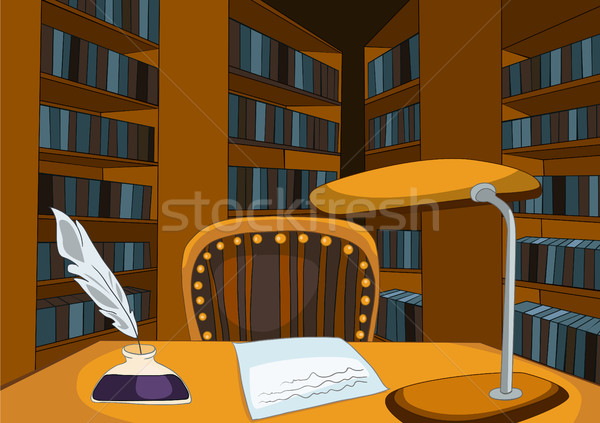 Cartoon background of vintage library room. Stock photo © RAStudio