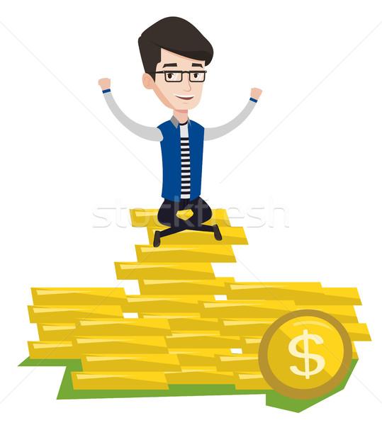 Stock fotó: Boldog · üzletember · ül · arany · érmék · kaukázusi