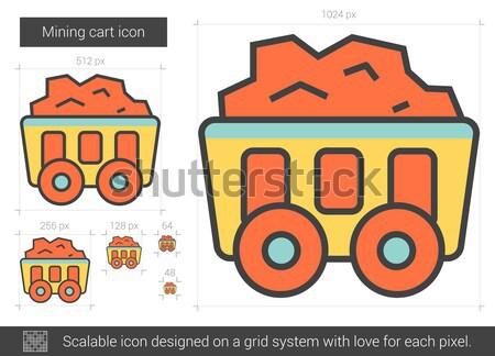 Mining cart line icona vettore isolato Foto d'archivio © RAStudio