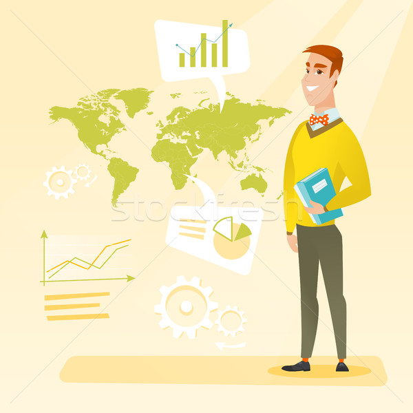 Zakenman werken wereldwijde business permanente wereldkaart Stockfoto © RAStudio