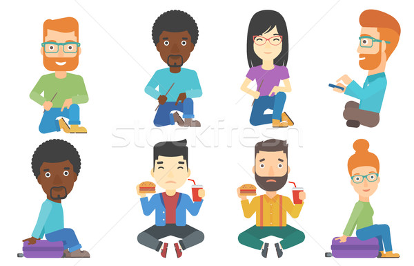 Vector set of tourists characters. Stock photo © RAStudio