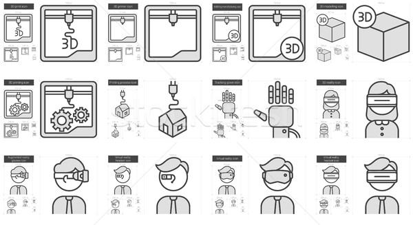 Virtual reality and 3D technology line icon set. Stock photo © RAStudio