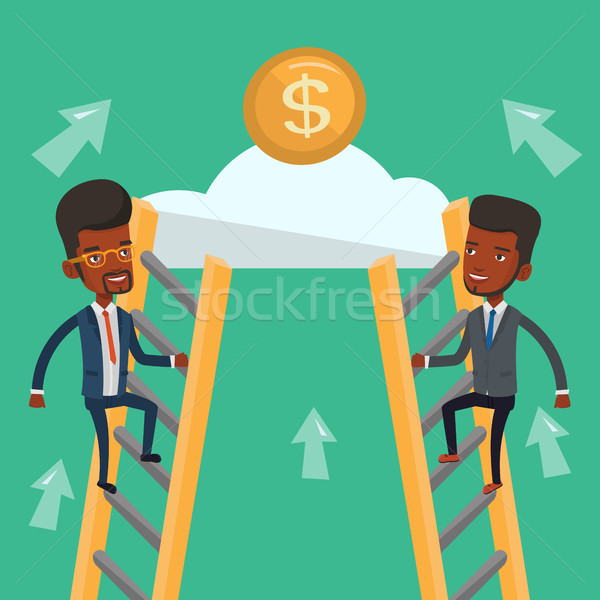 Kettő üzletember versenyző pénz versenyképes üzletemberek Stock fotó © RAStudio