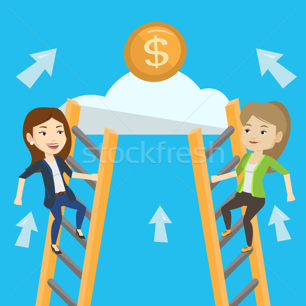 Kettő üzletasszony versenyző pénz kaukázusi üzlet Stock fotó © RAStudio