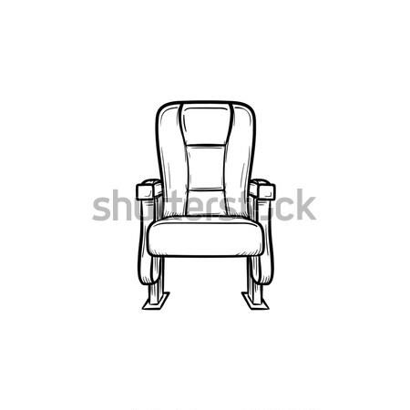 Stockfoto: Bioscoop · stoel · beschikbaar · beker · schets · icon