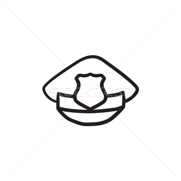 Policeman hat with badge sketch icon. Stock photo © RAStudio