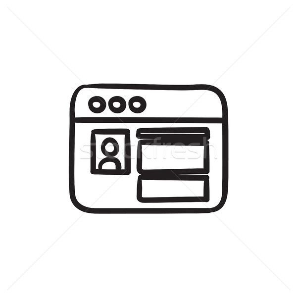 Browser window with page sketch icon. Stock photo © RAStudio