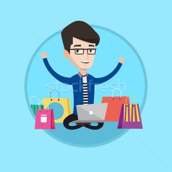 Adam alışveriş çevrimiçi genç kafkas Stok fotoğraf © RAStudio