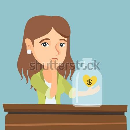 Mujer mirando vacío dinero cuadro Foto stock © RAStudio