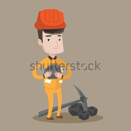 石炭 手 ヘルメット 作業 鉱山 ストックフォト © RAStudio