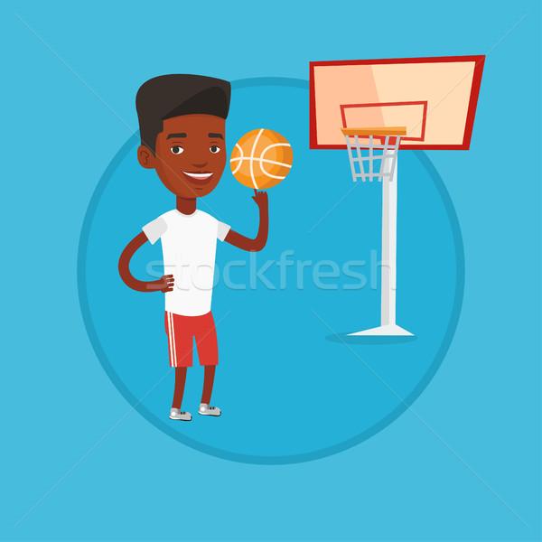 Afrikai kosárlabdázó labda sportoló kosárlabda ujj Stock fotó © RAStudio
