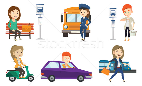 Stock photo: Transportation vector set with people traveling.