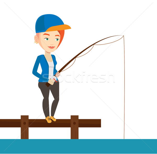 Woman fishing on jetty vector illustration. Stock photo © RAStudio