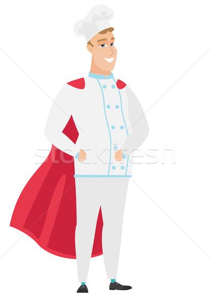Chef cook wearing a red superhero cloak. Stock photo © RAStudio
