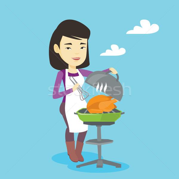 女性 料理 鶏 バーベキューグリル アジア 屋外 ストックフォト © RAStudio