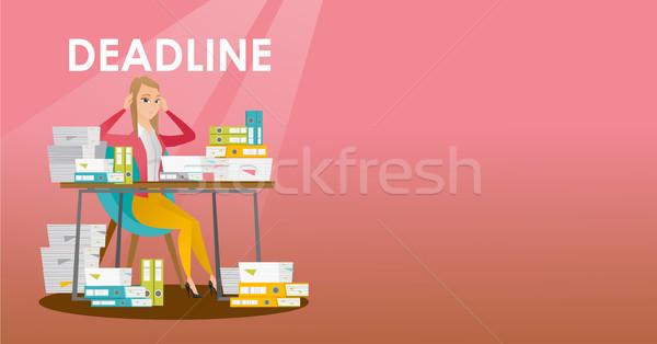 Empresario problema fecha tope mujer sesión mesa Foto stock © RAStudio