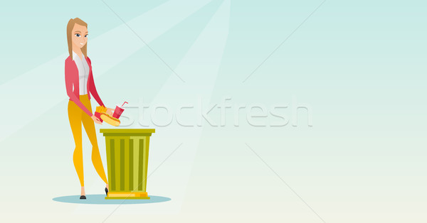Stock photo: Woman throwing junk food vector illustration.