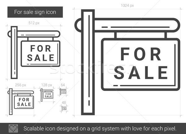 Satış imzalamak hat ikon vektör yalıtılmış Stok fotoğraf © RAStudio