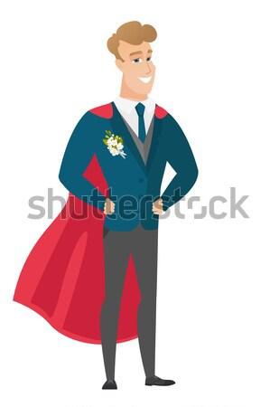 Vőlegény visel piros szuperhős köpeny fiatal Stock fotó © RAStudio