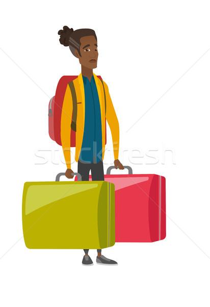 Teleurgesteld toeristische twee groot koffers Stockfoto © RAStudio