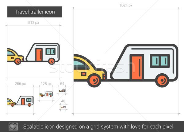 Travel trailer line icon. Stock photo © RAStudio