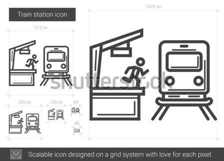 железнодорожная станция линия икона вектора изолированный белый Сток-фото © RAStudio