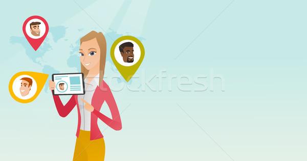 Kaukasisch vrouw tablet gebruiker Stockfoto © RAStudio