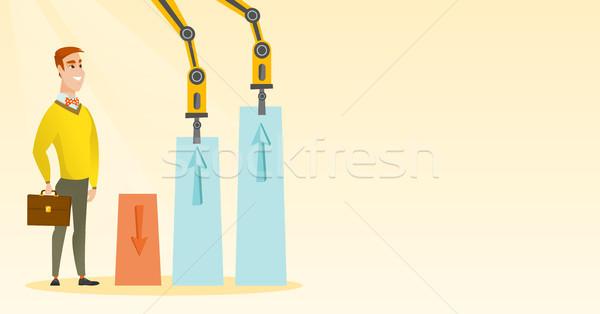 Robotic arms raise up business charts. Stock photo © RAStudio