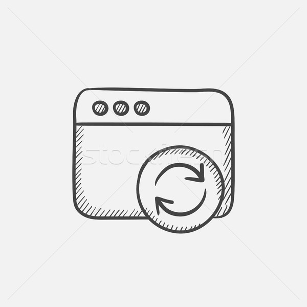 Browser window with refresh sign sketch icon. Stock photo © RAStudio