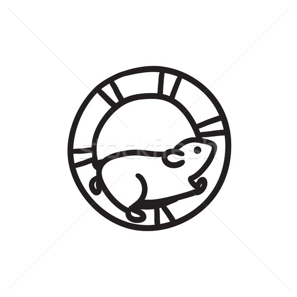 Hamster running in the wheel sketch icon. Stock photo © RAStudio