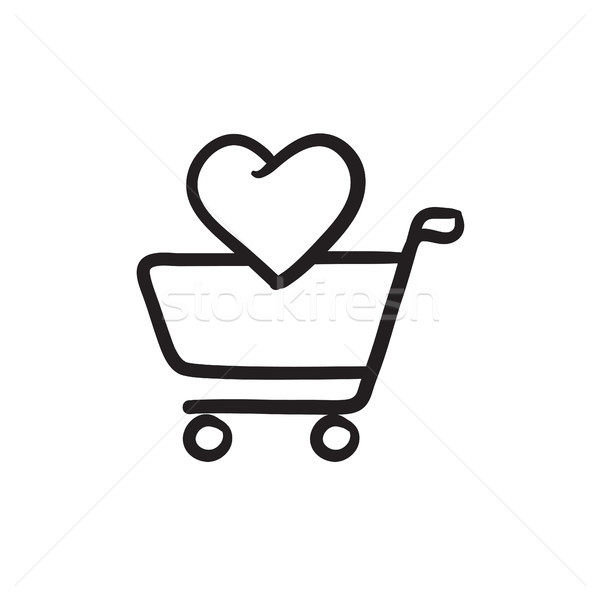 Stock photo: Shopping cart with heart sketch icon.