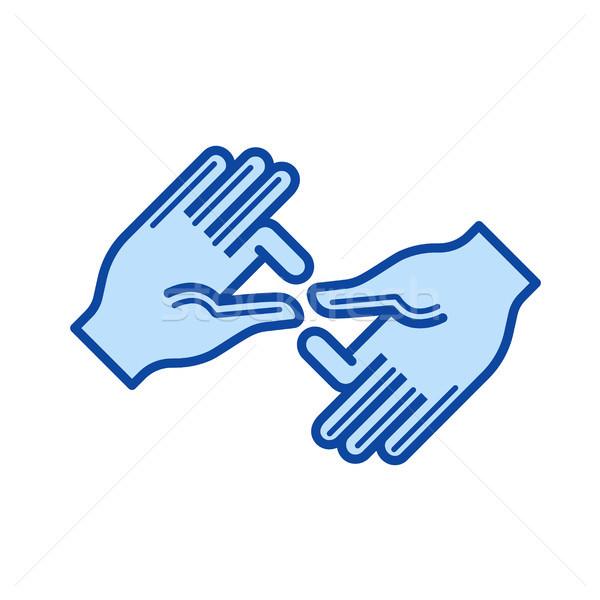 Palm hands line icon. Stock photo © RAStudio