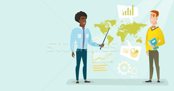 üzletemberek dolgozik globális üzlet afrikai kaukázusi fehér Stock fotó © RAStudio