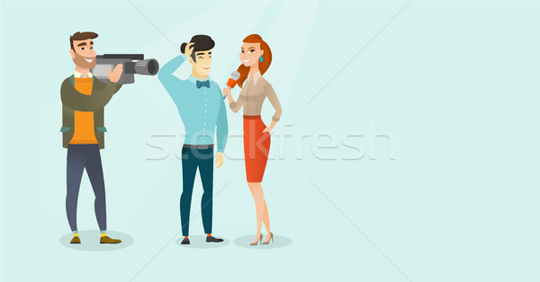 TV interview vector cartoon illustration. Stock photo © RAStudio