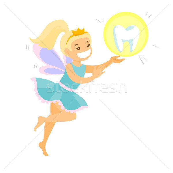 Сток-фото: Cute · блондинка · зубов · фея · Flying · кавказский