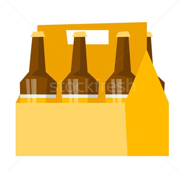 Six-pack with bottles of beer vector cartoon. Stock photo © RAStudio